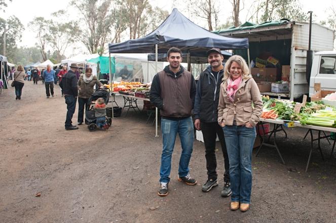 Dom, Jo and Trish - veggie stall