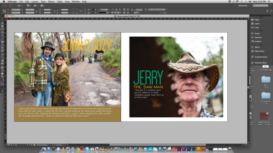 working on a layout from the book