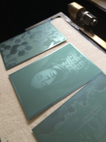 The print plates ready to be inked up and printed
